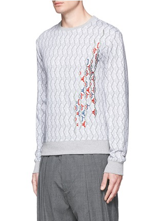 Front View - Click To Enlarge - CARVEN - Cable knit print embroidered sweatshirt