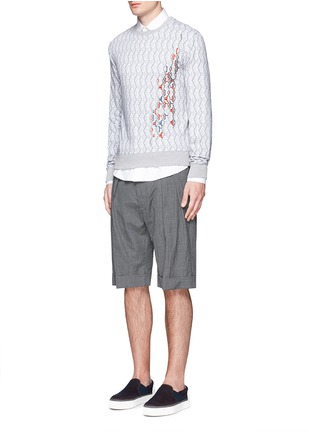 Figure View - Click To Enlarge - CARVEN - Cable knit print embroidered sweatshirt