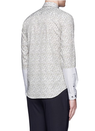Back View - Click To Enlarge - CARVEN - Ginkgo print contrast sleeve cotton shirt