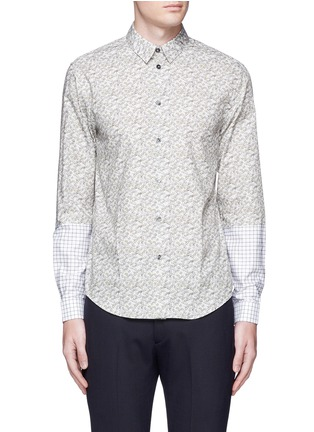 Main View - Click To Enlarge - CARVEN - Ginkgo print contrast sleeve cotton shirt
