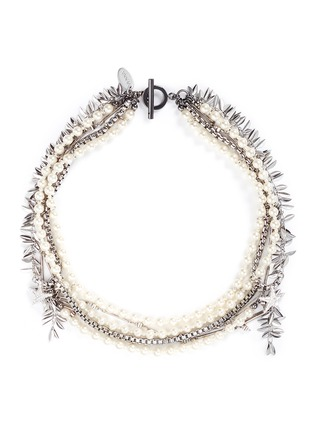 Main View - Click To Enlarge - Venna - Crystal star faux pearl chain link leaf necklace