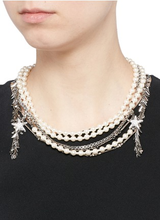 Figure View - Click To Enlarge - Venna - Crystal star faux pearl chain link leaf necklace