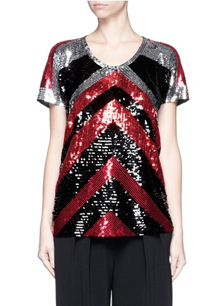 Main View - Click To Enlarge - Lanvin - Sequin chevron jersey T-shirt