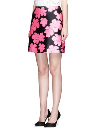 Front View - Click To Enlarge - LANVIN - Floral jacquard duchesse satin skirt