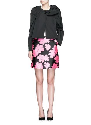 Figure View - Click To Enlarge - LANVIN - Floral jacquard duchesse satin skirt