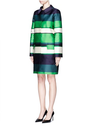 Front View - Click To Enlarge - Lanvin - Stripe duchesse satin collared coat