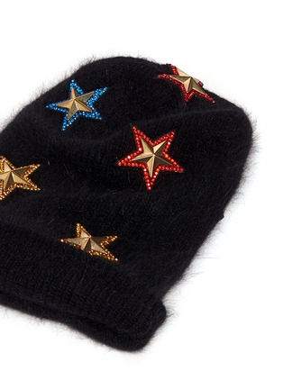 Detail View - Click To Enlarge - Venna - Crystal pavé star appliqué angora blend knit beanie