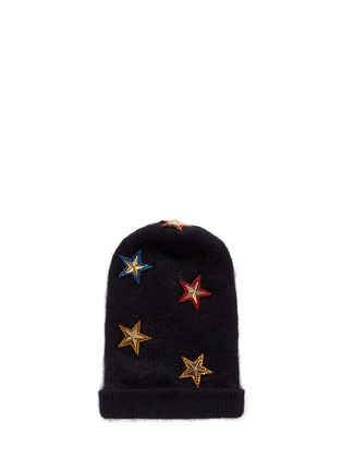 Main View - Click To Enlarge - Venna - Crystal pavé star appliqué angora blend knit beanie