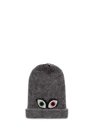 Main View - Click To Enlarge - VENNA - Crystal pavé eye appliqué angora blend knit beanie