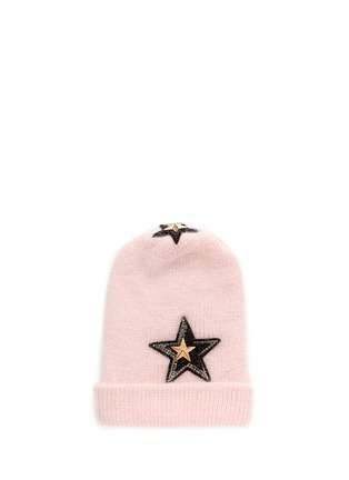 Main View - Click To Enlarge - VENNA - Crystal pavé star appliqué angora blend knit beanie