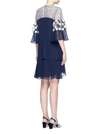 Back View - Click To Enlarge - Peter Pilotto - Floral lace ruffle silk georgette dress