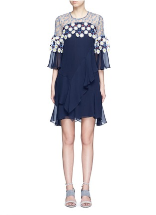 Main View - Click To Enlarge - Peter Pilotto - Floral lace ruffle silk georgette dress