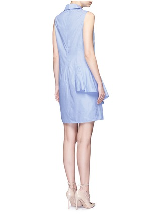 Back View - Click To Enlarge - PETER PILOTTO - Ruffle front floral lace cotton shirt dress