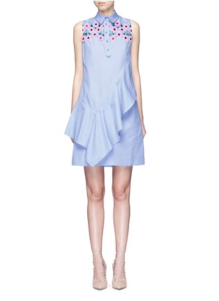 Main View - Click To Enlarge - PETER PILOTTO - Ruffle front floral lace cotton shirt dress