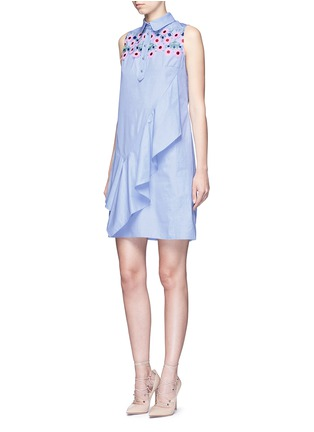 Figure View - Click To Enlarge - PETER PILOTTO - Ruffle front floral lace cotton shirt dress