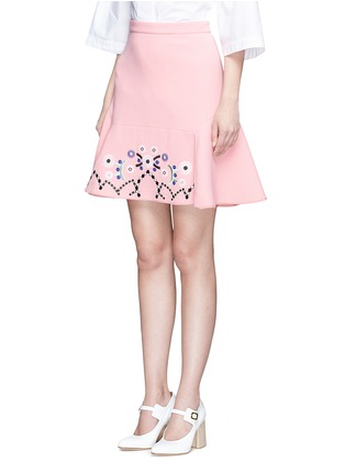 Front View - Click To Enlarge - Peter Pilotto - Tribal embroidery cady crepe virgin wool skirt