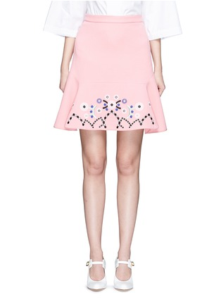 Main View - Click To Enlarge - Peter Pilotto - Tribal embroidery cady crepe virgin wool skirt