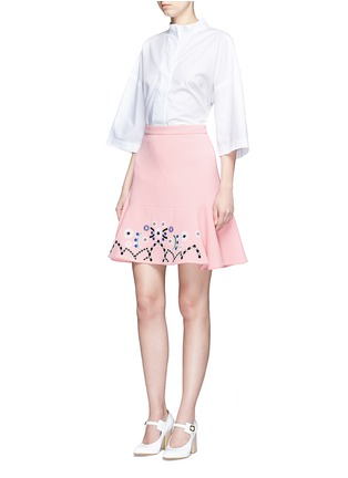 Figure View - Click To Enlarge - Peter Pilotto - Tribal embroidery cady crepe virgin wool skirt