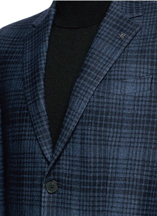 Detail View - Click To Enlarge - Canali - Check wool-cotton jersey blazer