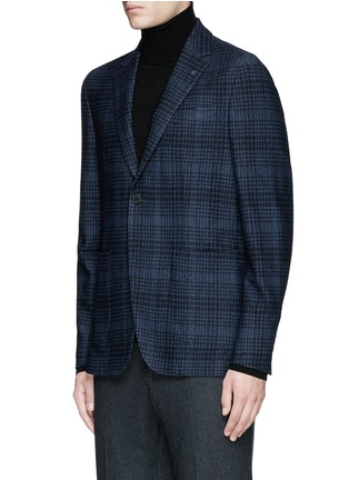 Front View - Click To Enlarge - Canali - Check wool-cotton jersey blazer
