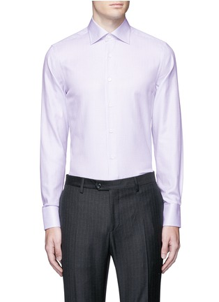 Main View - Click To Enlarge - Canali - Slim fit micro check cotton shirt