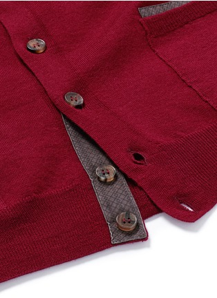 Detail View - Click To Enlarge - Canali - Suede trim wool cardigan