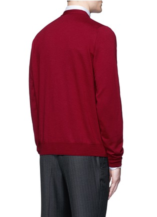 Back View - Click To Enlarge - Canali - Suede trim wool cardigan