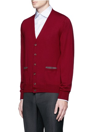 Front View - Click To Enlarge - Canali - Suede trim wool cardigan
