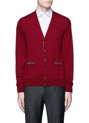 Main View - Click To Enlarge - Canali - Suede trim wool cardigan