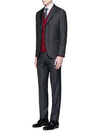 Figure View - Click To Enlarge - Canali - Suede trim wool cardigan