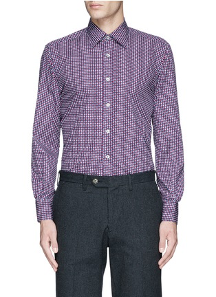 Main View - Click To Enlarge - Canali - Star print cotton shirt