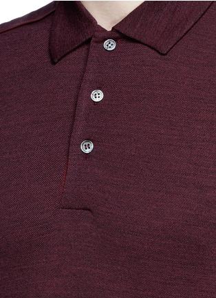 Detail View - Click To Enlarge - Canali - Fleece wool piqué polo shirt
