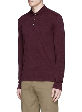 Front View - Click To Enlarge - Canali - Fleece wool piqué polo shirt
