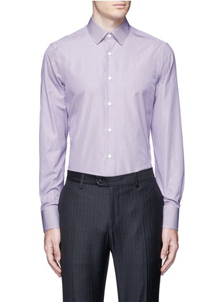 Main View - Click To Enlarge - Canali - Slim fit stripe cotton shirt