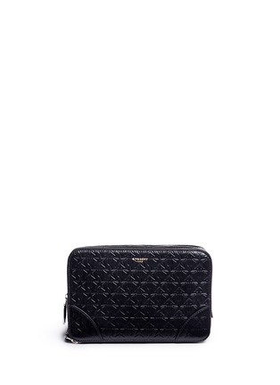 Main View - Click To Enlarge - Givenchy - 'LC' embossed star and trident leather zip pouch
