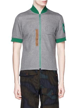 Main View - Click To Enlarge - kolor - Contrast collar zip T-shirt
