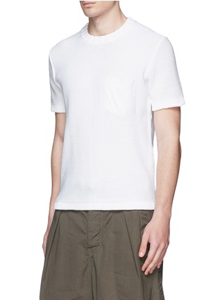 Front View - Click To Enlarge - KOLOR - Contrast pocket horizontal knit T-shirt