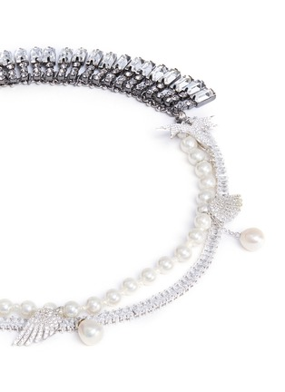 Detail View - Click To Enlarge - Venna - Crystal pavé wing faux pearl fringe necklace