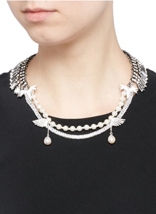 Figure View - Click To Enlarge - Venna - Crystal pavé wing faux pearl fringe necklace