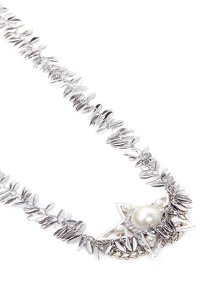 Detail View - Click To Enlarge - Venna - Crystal faux pearl star leaf chain necklace