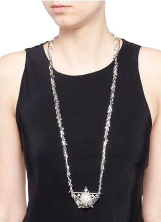 Figure View - Click To Enlarge - Venna - Crystal faux pearl star leaf chain necklace