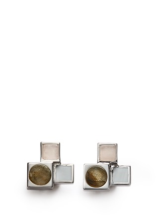 Main View - Click To Enlarge - Eddie Borgo - 'Mosaic Stud' rose quartz cuboid earrings