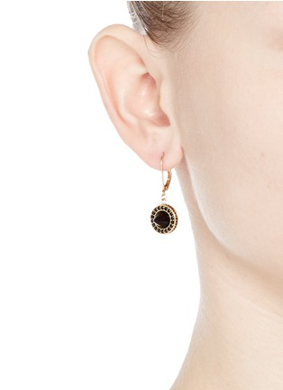 Figure View - Click To Enlarge - Eddie Borgo - 'French Clip Cone Day' onyx drop pavé earrings