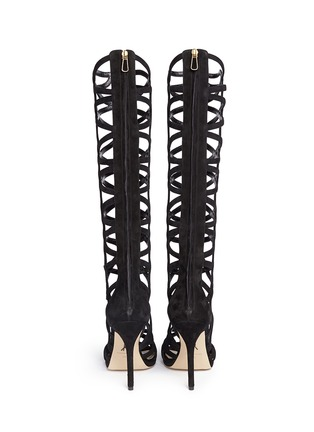 Back View - Click To Enlarge - PAUL ANDREW - 'Mia' knee high suede gladiator sandals