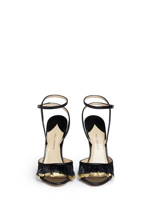 Front View - Click To Enlarge - PAUL ANDREW - 'Piume' 24k gold dipped heel feather satin sandals