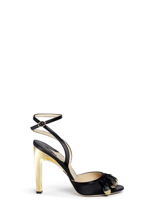 Main View - Click To Enlarge - PAUL ANDREW - 'Piume' 24k gold dipped heel feather satin sandals