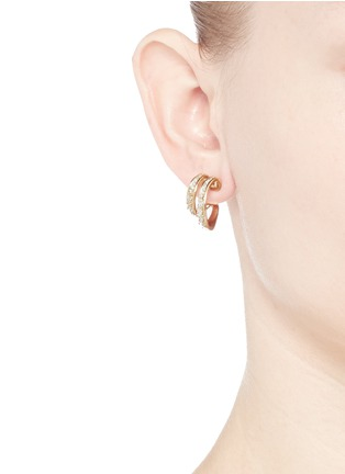 Figure View - Click To Enlarge - FERNANDO JORGE - 'Stream Doubled' diamond 18k yellow gold hoop earrings