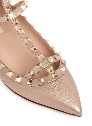 Detail View - Click To Enlarge - Valentino - 'Rockstud' metallic caged leather flats