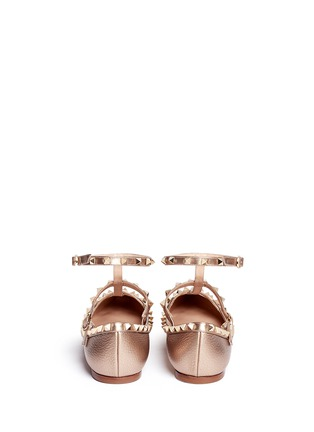 Back View - Click To Enlarge - Valentino - 'Rockstud' metallic caged leather flats