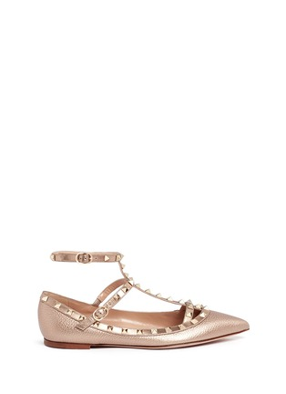 Main View - Click To Enlarge - Valentino - 'Rockstud' metallic caged leather flats